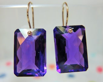 2 days Sale 25% Off Purple Amethyst Checker Board Faceted Cushion Cut Briolettes (19.4ct), and 14K Solid Yellow Gold Earwires