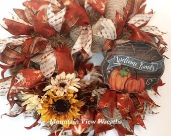 Deco Mesh Fall Wreath, Autumn Mesh Wreath. Fall Welcome Wreath, Fall Pumpkin Wreath. Autumn Colors Wreath, Fall Pumpkin Decor, Fall Decor