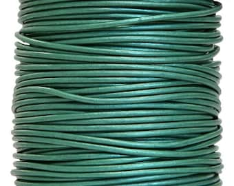 Round Leather Cord 1 mm Diameter Truly Teal Color 50 Meter Spool