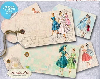 75% OFF SALE Fashion Tags - Digital Collage Sheet Digital Tags T012 Printable Download Image Tags Digital tags Trendy image atc for her