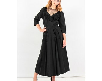 1940s dress / Vintage Black rayon faille cocktail dress with fishnet bodice / Full pleated skirt  S