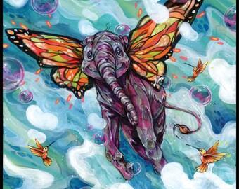 """Elephant Art Print - Elephant Artwork - Wall Art - Art Poster - """"Lollapopaphant"""" by Black Ink Art"""