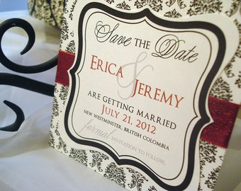 Slightly Sangria Damask Hand Cut Frame Save the Date Card... Sample