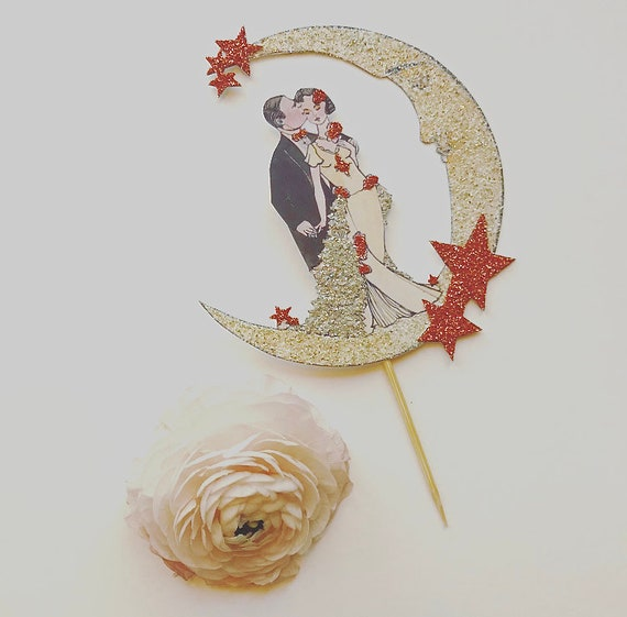 Rose Gold Wedding Cake Topper, Moon and Stars, Copper, Art Deco, Bride and Groom, Great Gatsby