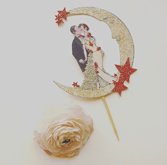 Wedding Cake Topper, Rose Gold, Moon and Stars, Copper, Art Deco, Bride and Groom, Great Gatsby