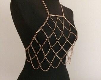 Gold Chain Bra Set Gold Body Chain Body Jewelry Jewelry