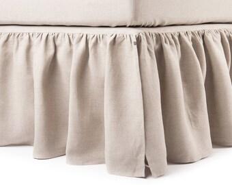 Linen dust ruffle King, 16 colors, Linen bed skirt, Custom bedskirt, Linen bedksirt King, Gathered bedskirt, Ruffle bedskirt, King bedding