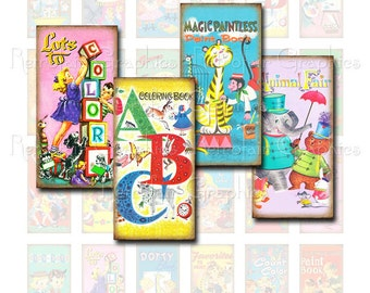 Retro Coloring Book Covers, Domino Pendant Size Digital Collage Sheet, DIY Printable Retro Childrens Graphics Set of 24 Cute Images 1 x 2