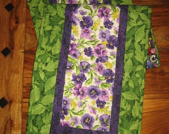 """Purple Yellow Pansies Summer Quilted Table Runner, Reversible Table Runner, 13 x 48"""" Handmade, Shabby Chic, Dining Coffee Table"""