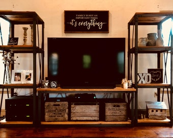 Modern rustic one of a kind entertainment center!