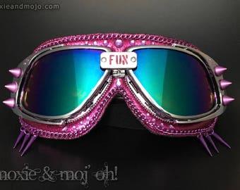 "Burning Man Goggles, BurningMan Fashion, Costume Headpiece, Playa Goggles, Pink Goggles, ""Fun & Fabulous"""