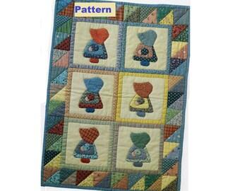"Sunbonnet Sue Quilt PATTERN - Wall Hanging - Doll Quilt - 16"" x 22"" - Instant download PDF - Fabric Scrap Craft - Applique"