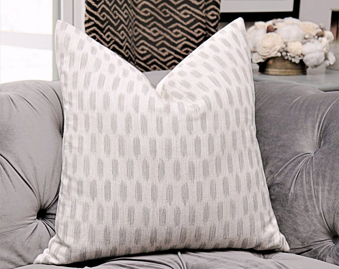 Off White & Gray Ikat Pillow Cover - Light Grey and Off White Woven Moroccan Pillow Cover - Designer Ash Gray Natural Southwest Home Decor
