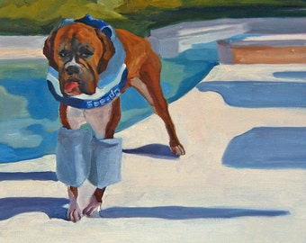 Boxer Dog and his Swimmies Fine Art Print