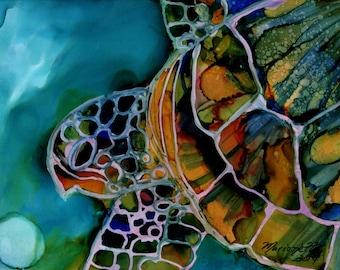 Sea Turtle 5x7 art print turtle gifts kids room decor nautical nursery sea turtle wall art beach cottage decor hawaii art hawaiian paintings