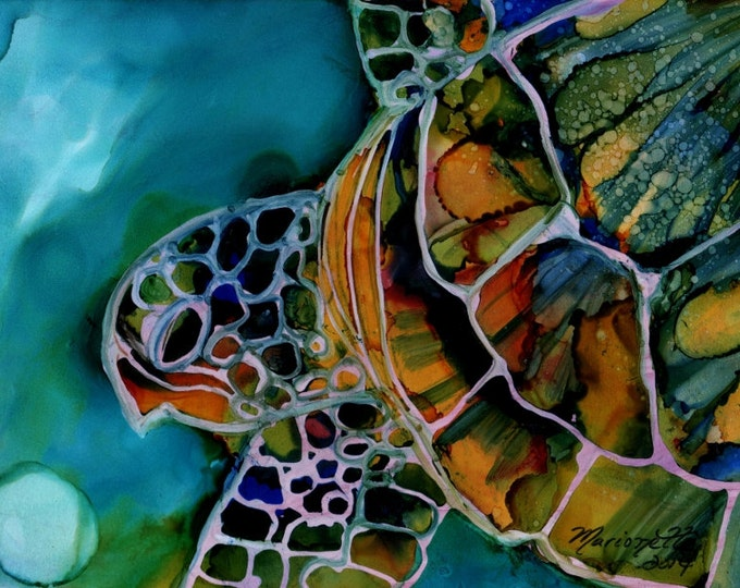 Sea Turtle 5x7 art print turtle gifts kids room decor nautical nursery sea turtle wall art beach cottage decor hawaii art hawaiian paintings