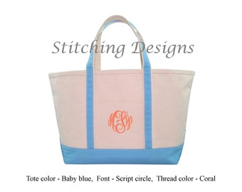 Monogrammed Tote, LARGE Boat Tote, Bridesmaid Tote Bag, Beach bag, Zip closure, Extra heavy canvas, 12 Colors available