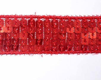 1 red stripe 20mm red sequins ACFI233 meter