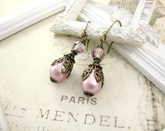 Bridesmaids Earrings Pink Swarovski Crystal Pearl Teardrop - Vintage Victorian Style Wedding Gift - Hook, Lever Back, Clip On Earrings
