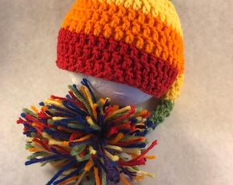 Rainbow stripped elf hat