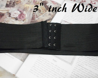 "Wide Elastic Stretch Belt 3"" wide, with hook and eye closure,  Custom Made, Black"