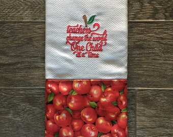 Teacher Kitchen Towel, Personalized, Embroidered, Homemade