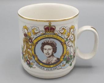 1977 Queen Elizabeth II Silver Jubilee Mug Commemorative Churchill