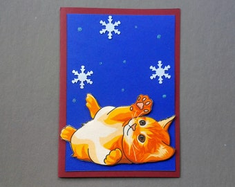 Handmade Fabric Orange Tabby Playing With Snowflakes Cat Christmas Card