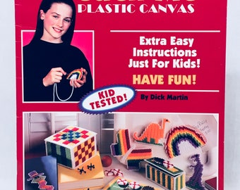 "Plastic Canvas ""TEACH ME"" Just for Kids! Craft Leaflet #1638. Games Accessories Supplies Gifts DIY Crafts. Leisure Arts 1995 Dick Martin"
