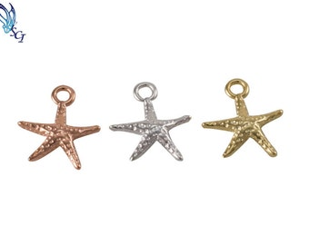 Medium Starfish Charm in Sterling Silver, Gold Plated, Rose Gold Plated, Jewelry Supplies, Jewelry Findings, Sealife Charms, CM363A
