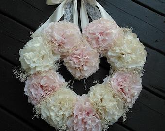 Coffee Filter Wedding Wreath/ Vintage Wedding/ Rustic Wedding/ Heart Wreath/ Nursery Decor