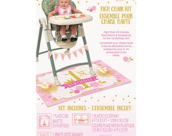 First Birthday High Chair Kit; Pink and Gold Girls First Birthday High Chair Decorating Kit
