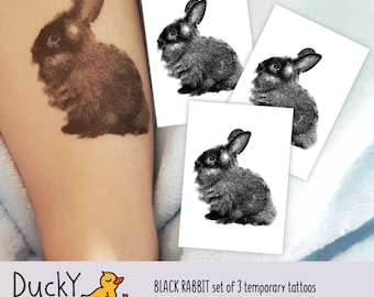 "Set of 3 temporary tattoos ""Black rabbit"". Easter basket fillers for kids and toddlers, egg hunt supply. Easter bunny gift. TT245"