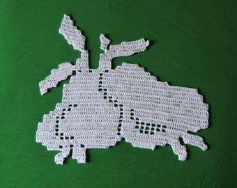 Poires napperon fruits crochet décoratif fait main neuf.Création made in France.