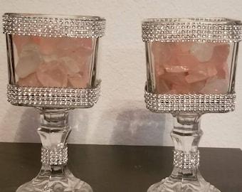 Glass Rock Candleholder