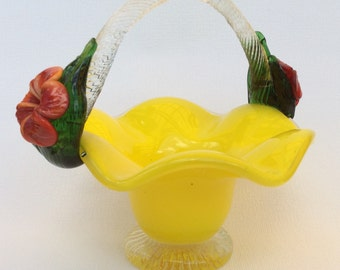 Bright yellow art glass basket with flower details