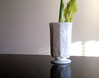 Westmoreland Glass Co Paneled Grape Celery Vase