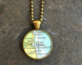 Map Necklace Dublin Ireland  Bold Bronze Loop Style Vintage Atlas