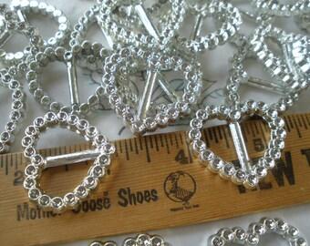 "Small Heart Ribbon Sliders Shiny Silver Plastic Buckles gift wrap hair ties 5/8"" slide faux cut rhinestone look 24 each"