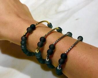 Matte About You 14k Gold Plated Bracelet- Slate