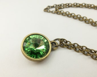 Brass Peridot Necklace August Birthstone Jewelry Peridot Crystal Necklace