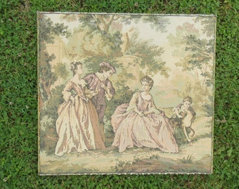 Delightful Completed Tapestry, Romantic Scene, French Needlepoint, Vintage from France