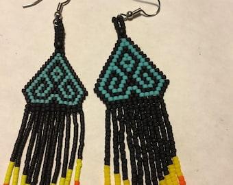 Delica Seed Bead Long Matte Colored Earrings