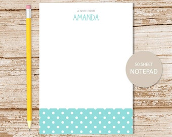 polka dots personalized notepad . dots note pad . personalized stationery . girls stationary