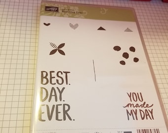 "2015 Stampin' Up! ""Best Day Ever"" Stamp Set - Hearts, Flowers, You made my Day, Happy, Card Creation, Encouragement, Scrapbooking, Fun Times"