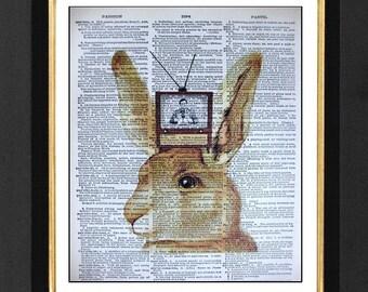 "Rabbit Humor""Rabbit Ears""Animal Humor,Mixed Media art print on size 8x10 Vintage Dictionary Page Art Print,Rabbit Humor, Vintage Rabbit Ears"