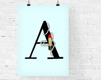 Lipsticks and Pearls Letter of your Choice Black Print