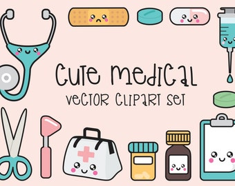 Premium Vector Clipart - Kawaii Doctor Clipart - Kawaii Clip Art Set - High Quality Vectors - Instant Download - Kawaii Medical Clipart