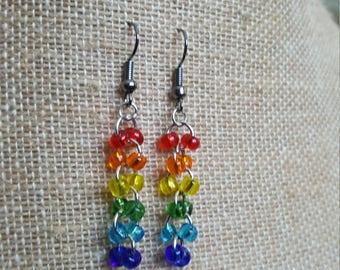Rainbow Cascade Beaded Earrings