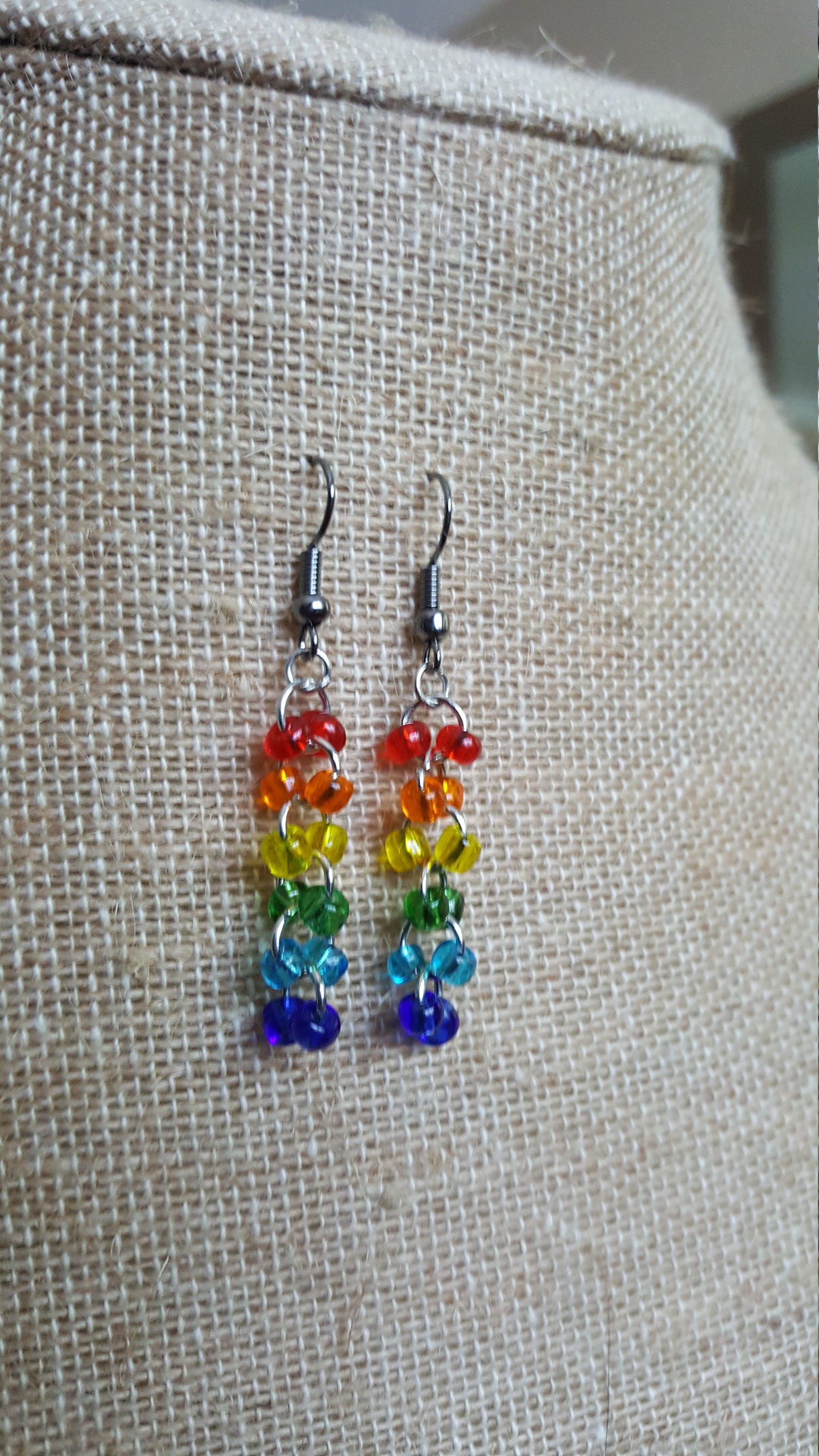 product apple gold hoop with quartz yarn beads rainbow handspun and earrings